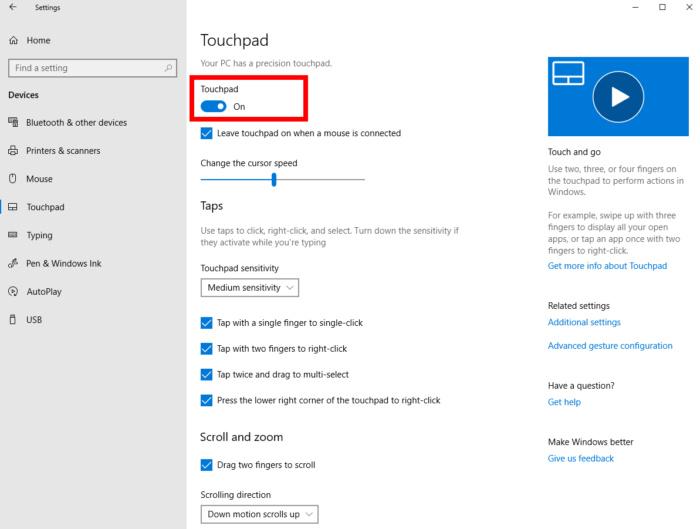 windows10settingstouchpad