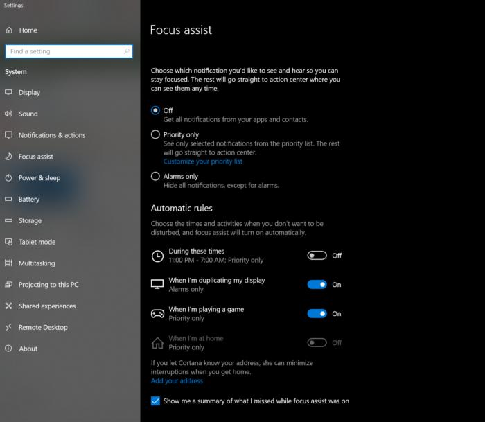 Windows 10 Spring Creators Update focus assist setting
