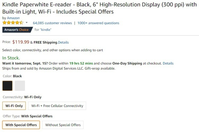 kindle paperwhite with special offers