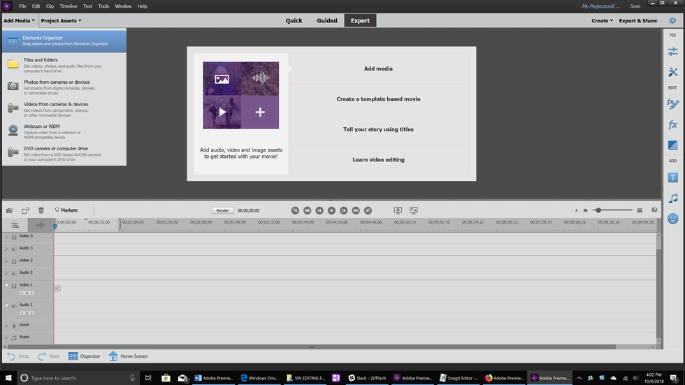 Adobe Premiere Elements 2019 Add Media