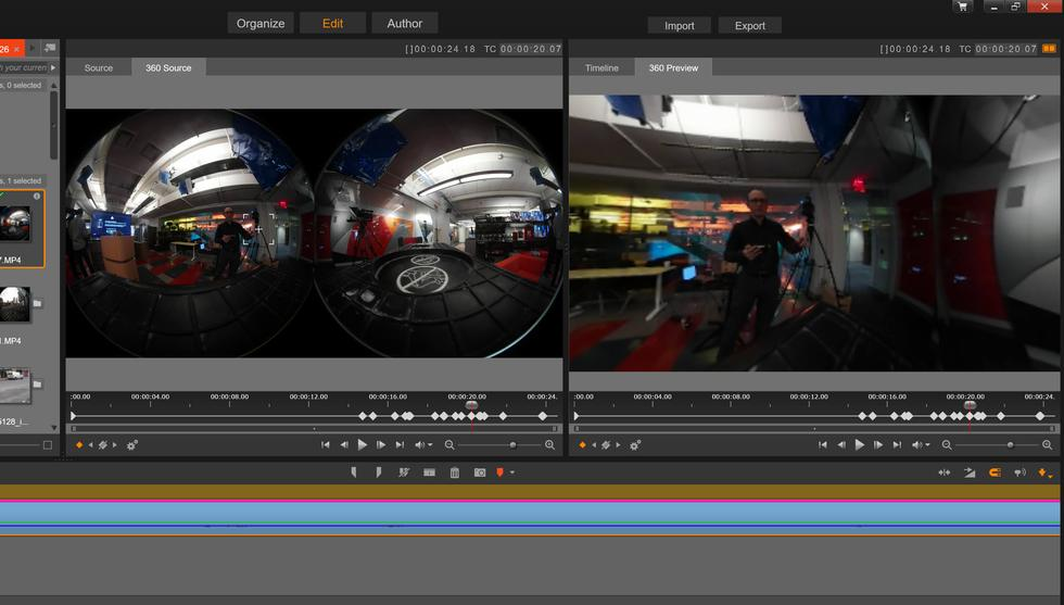 360-degree video editing in Pinnacle Studio 20 Ultimate