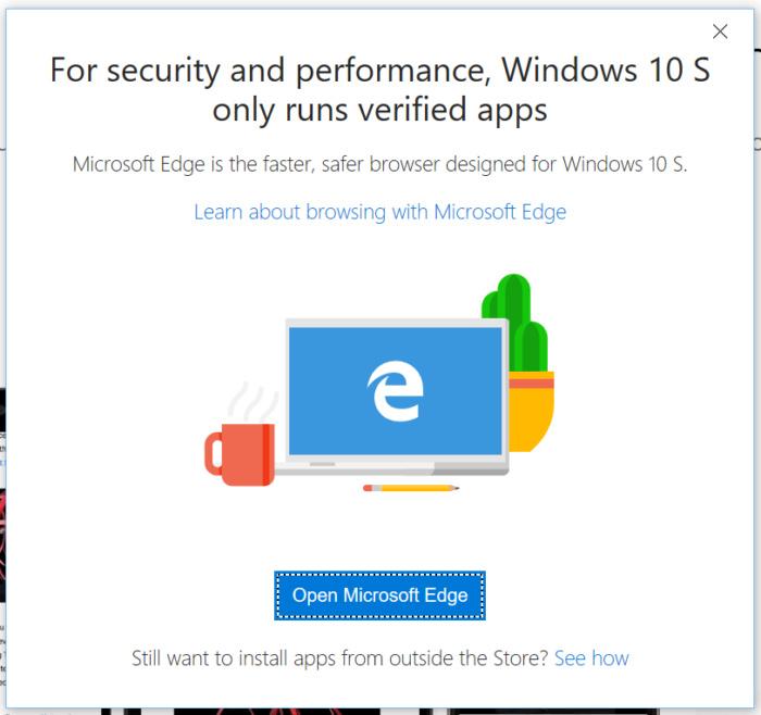 google chrome warning Windows 10 S