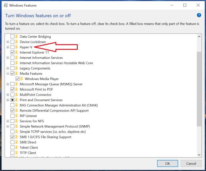 hyper v Windows 10 S Microsoft