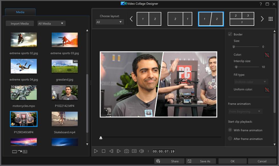 Multicam Video Collage in PowerDirector