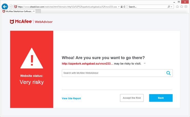 McAfee AntiVirus Plus Risky Site