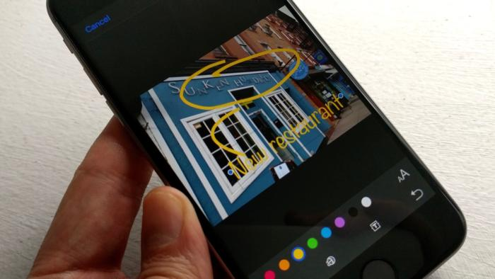 Draw shapes and write captions on your photos