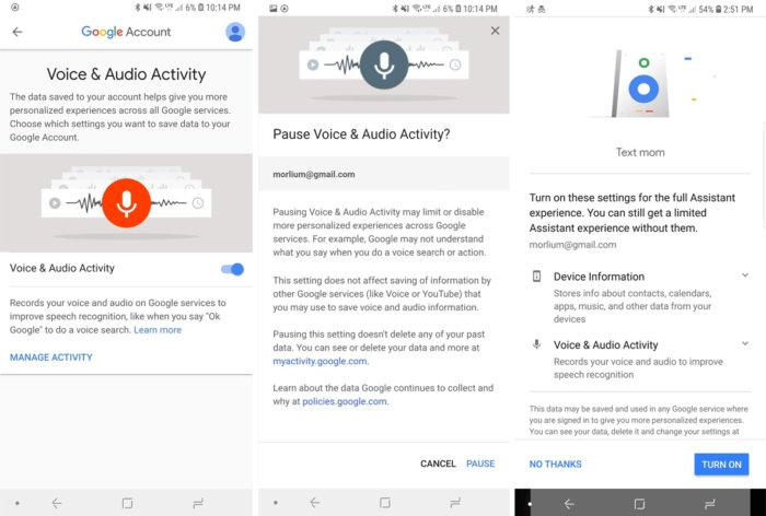 google privacy checkup voice audio