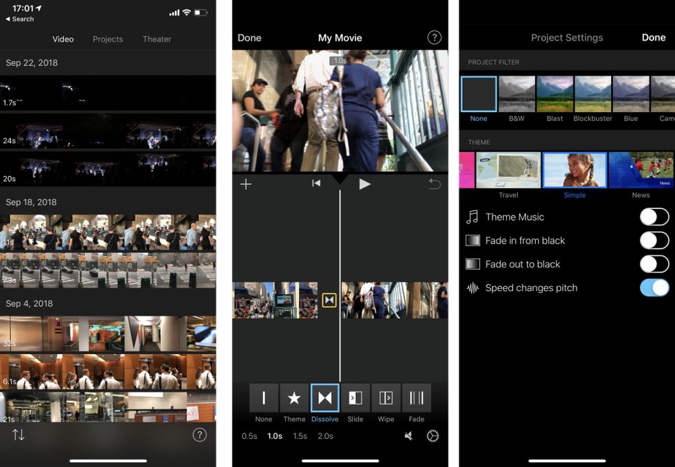iMovie on the iPhone X