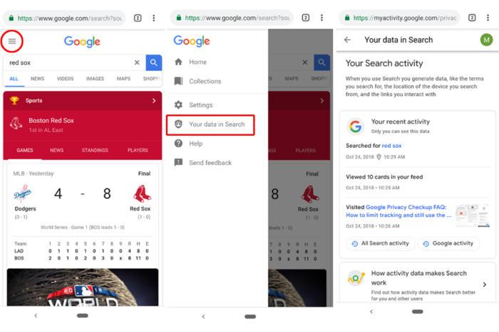 google search data chrome
