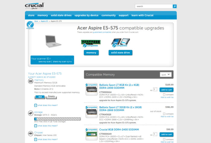 acer crucial memory scan
