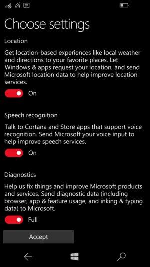 Windows 10 Mobile Creators Update privacy settings