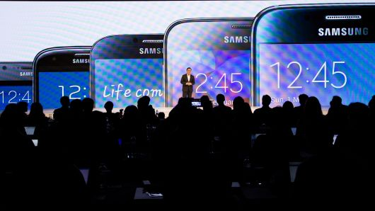 Koh Dong Jin, president of mobile communications at Samsung Electronics, speaks during a media event in Seoul, South Korea.