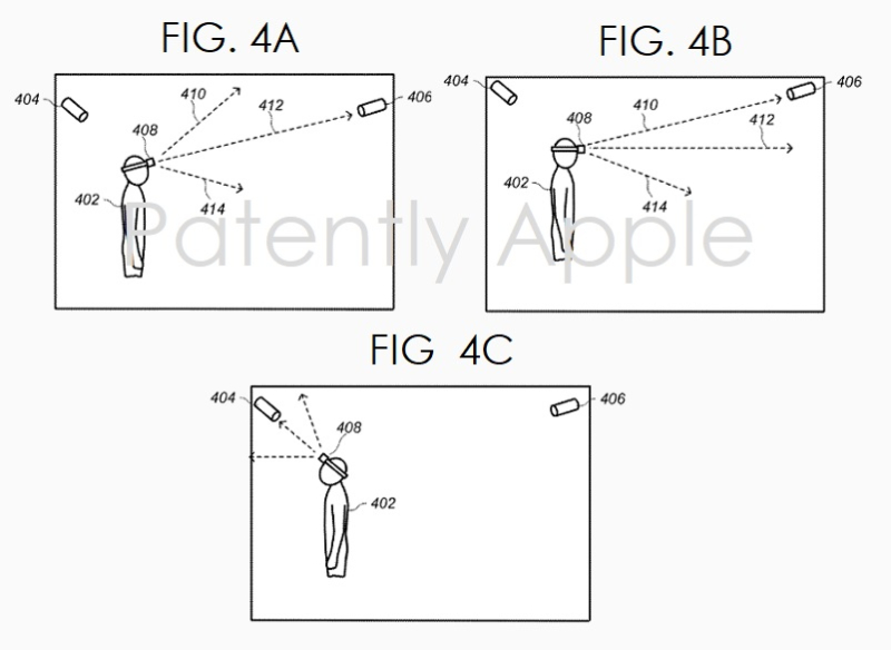 6 - FIGS 4ABC - AR-VR WIRELESS SYSTEM FOR WORK SPACES - PATENTLY APPLE REPORT POSTED SEPT 12  2020