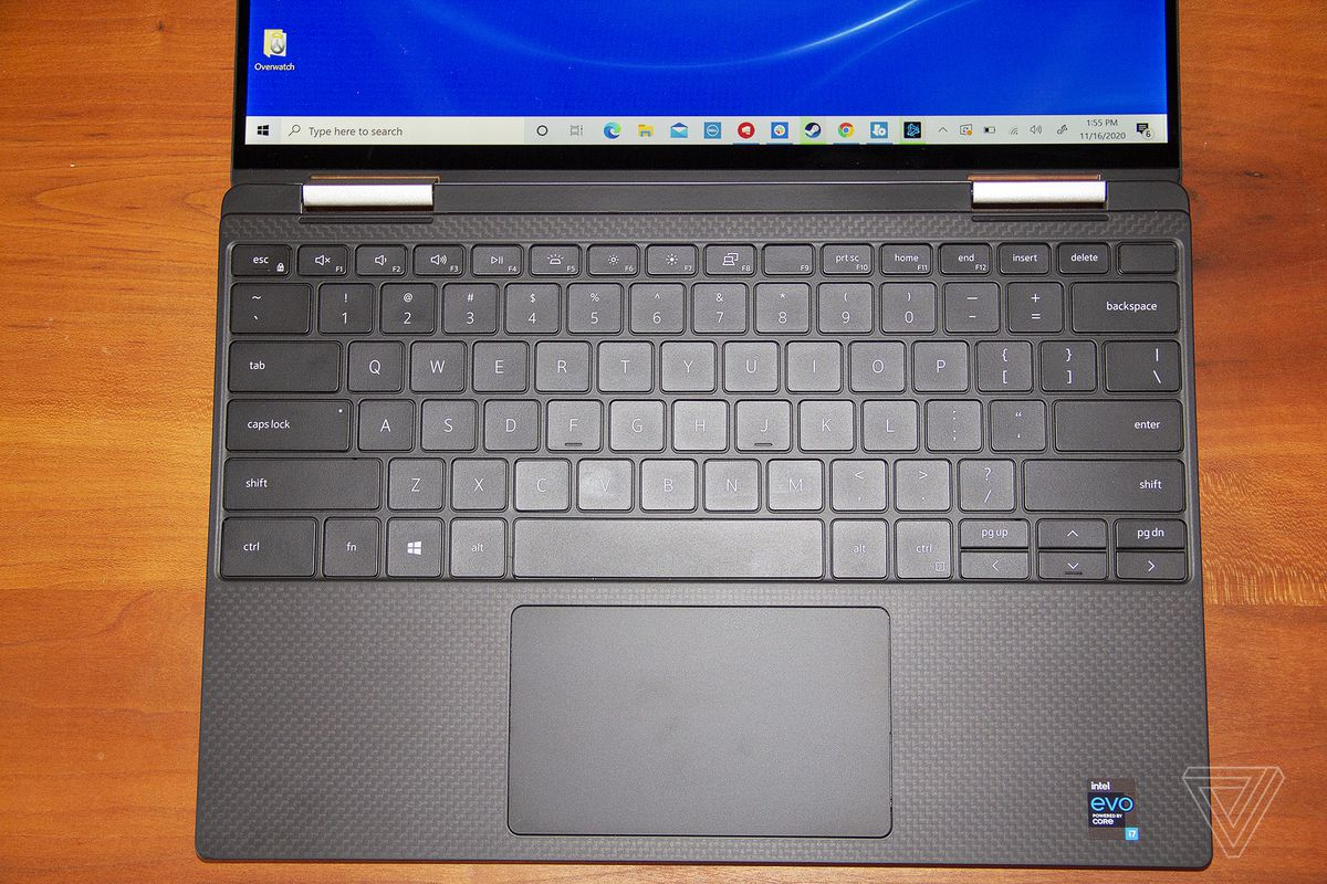 The Dell XPS 13 2-in-1 laid out flat.