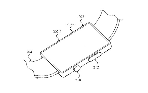 Detail from the patent showing how SMI sensors could also be used on the back of an Apple Watch