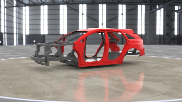 Moulded and set in a resin, carbon fibre can be formed into any shape and is stronger than steel. Plasan's lightweight and affordable carbon vehicle structure.