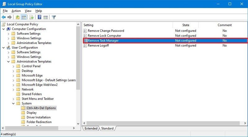 Remove Task Manager policy