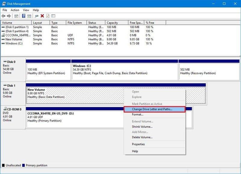 Disk Management change letter option