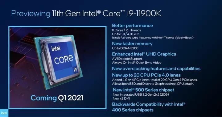 Intel Core I9 11900k Preview