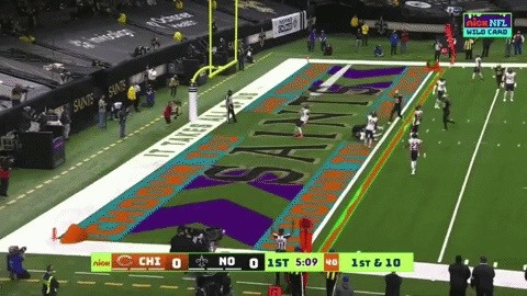 Nickelodeon Injects Broadcast AR Fun into Saints vs. Bears NFL Playoff Game