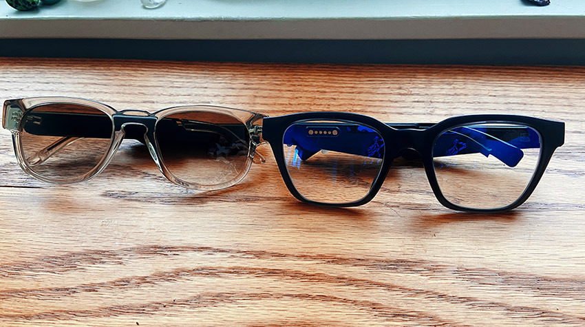 When compared side by side with Bose Frames (right), Fauna (left) is notably smaller all around