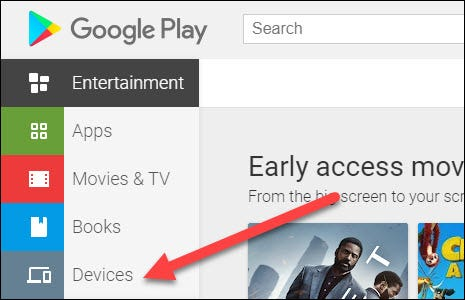 play store devices tab