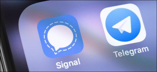 Signal and Telegram app icons.