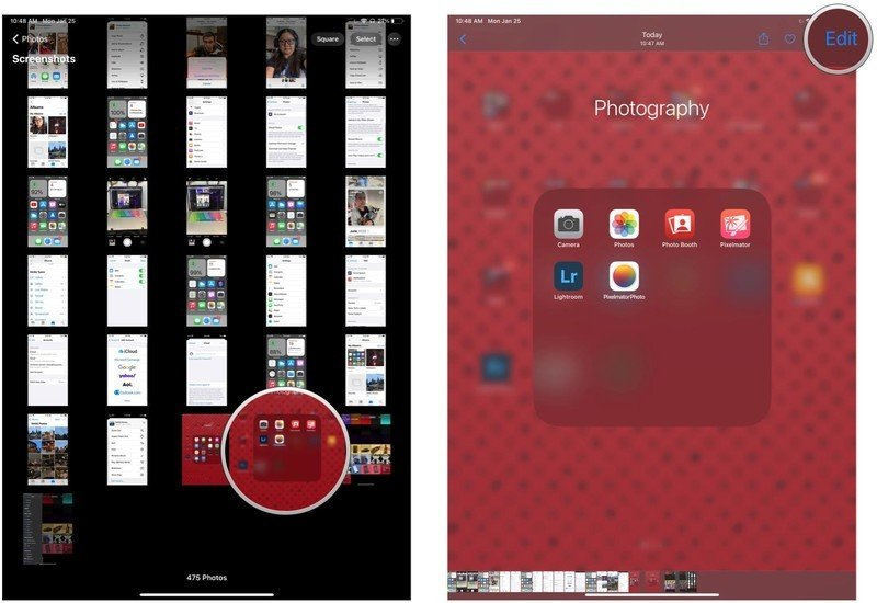 How to view and further edit screenshots on iPad Pro with Face ID by showing steps: In Screenshots album, tap the screenshot you want to view, then tap Edit in the upper right corner