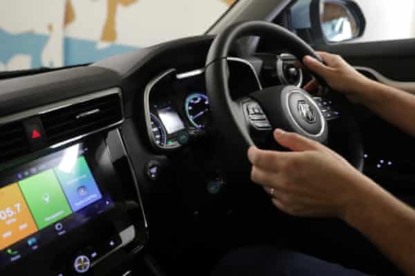 The touch screen display of the MG ZS EV