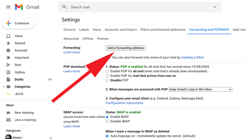 How to redirect email to a new address: Forwarding Email Gmail