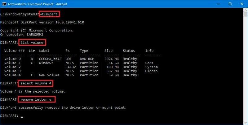 Windows 10 DiskPart unmount drive