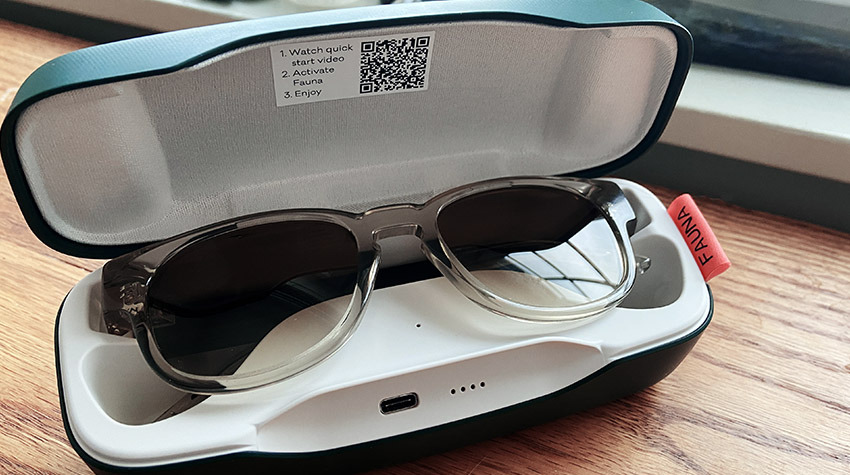 Fauna's charging case offers a convenient place to store your glasses when not in use