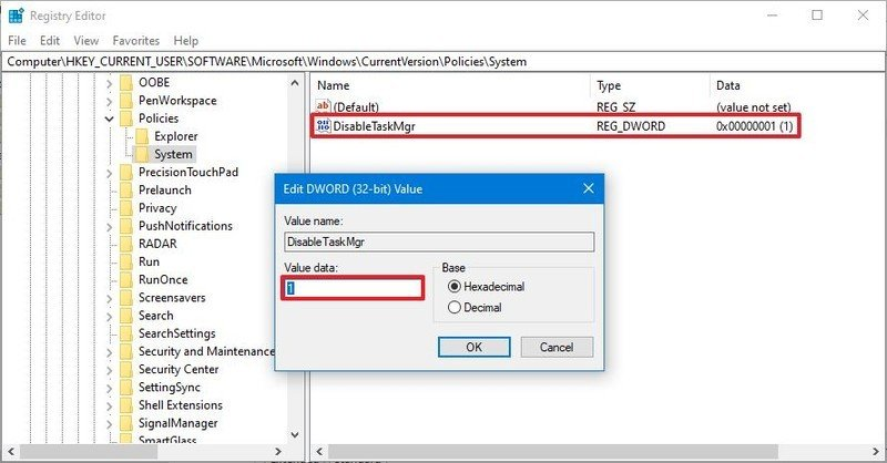 Windows 10 disable Task Manager with Registry