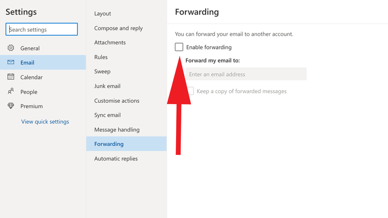 How to redirect email to a new address: Outlook