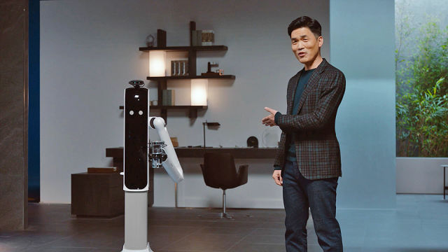 The Samsung Bot Handy shown off during a CES presentation.