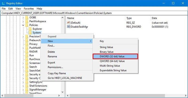 Create DisableMgr Registry key