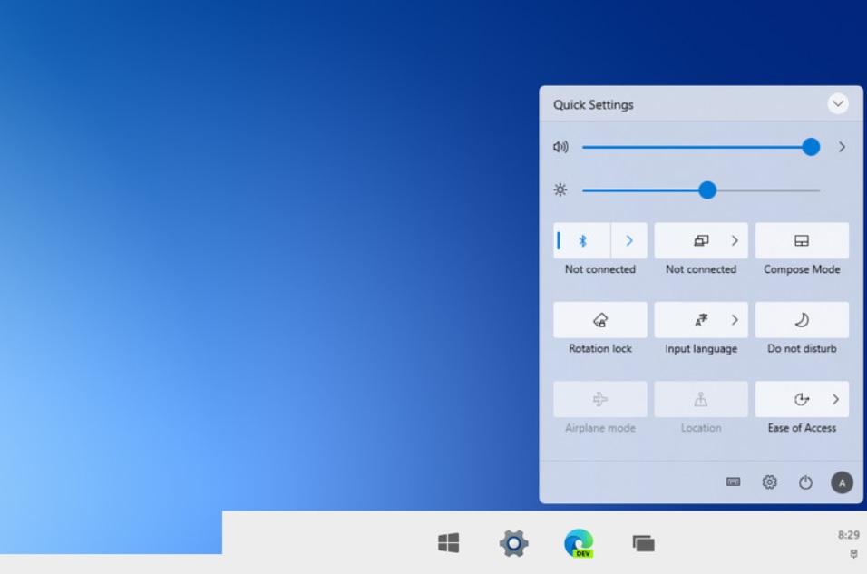 Windows 10X Action Center