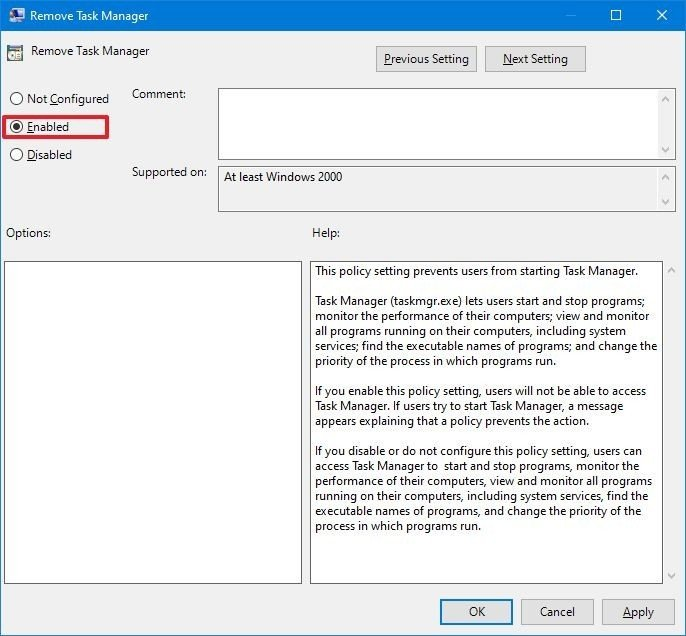 Windows 10 policy to disable Task Manager
