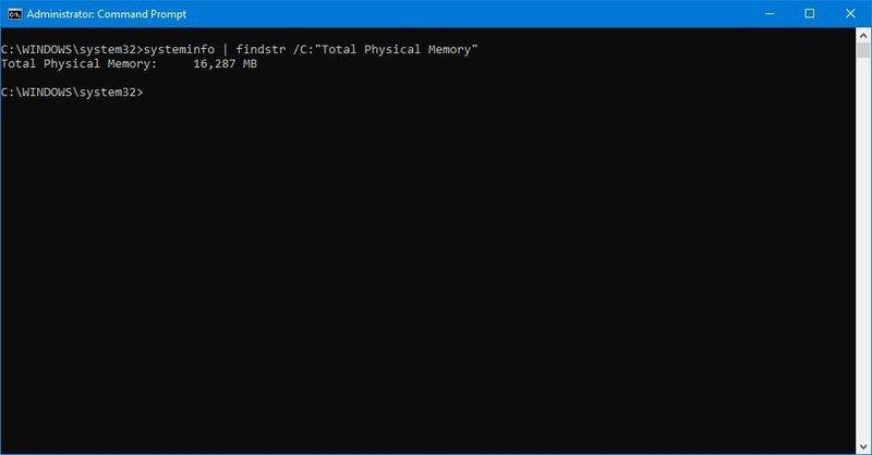 Windows 10 check total memory size