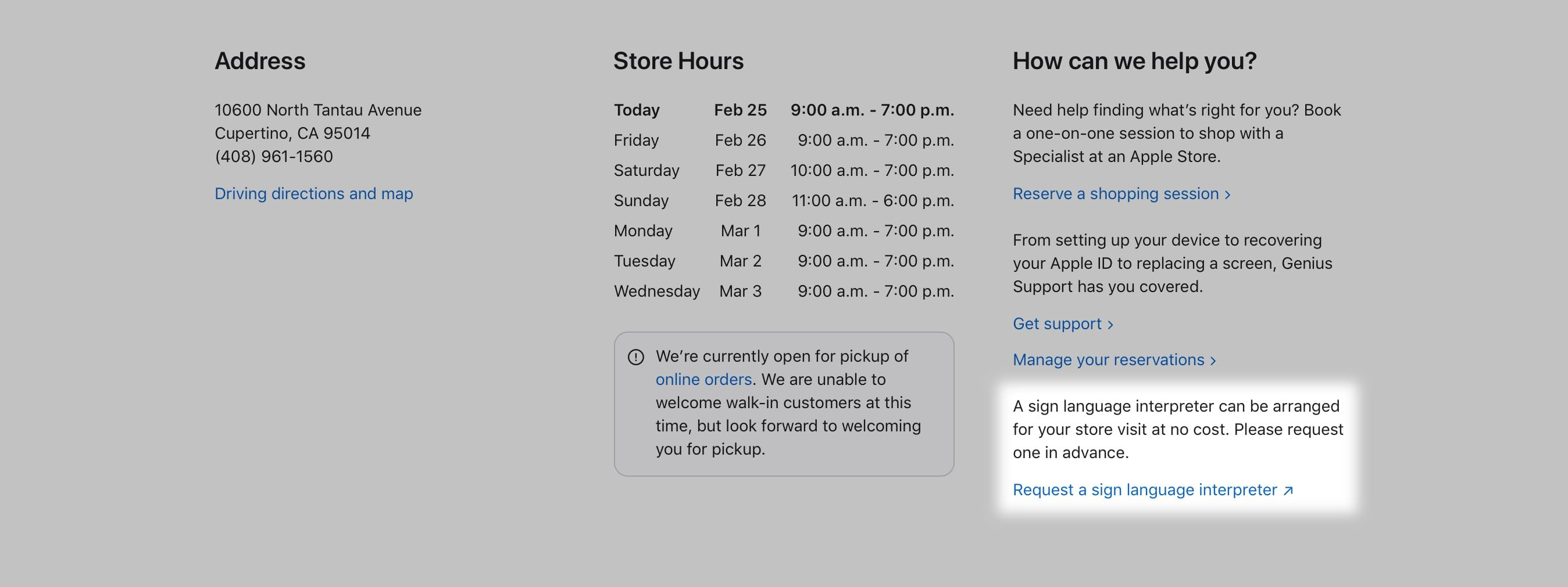 "Visit Apple's website for your local store and choose the ""request a sign language interpreter"" link."