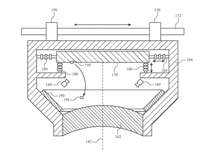 Detail from the patent application showing different ways a lens, or other optical device, could be moved to dislodge debris