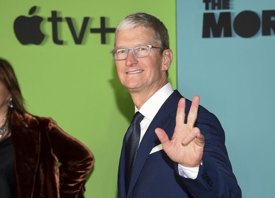 Apple CEO Tim Cook attends the world premiere of Apple TV+'s