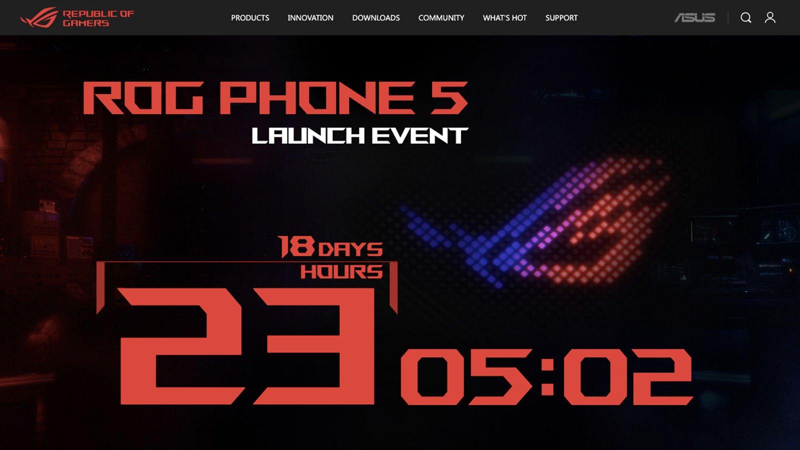 Asus ROG Phone 5 microsite screenshot