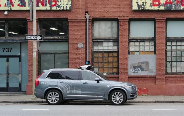 A self driving Volvo XC90 outside 737 Harrisonn in San Francisco  Calif.  the unmarked headquarters ...