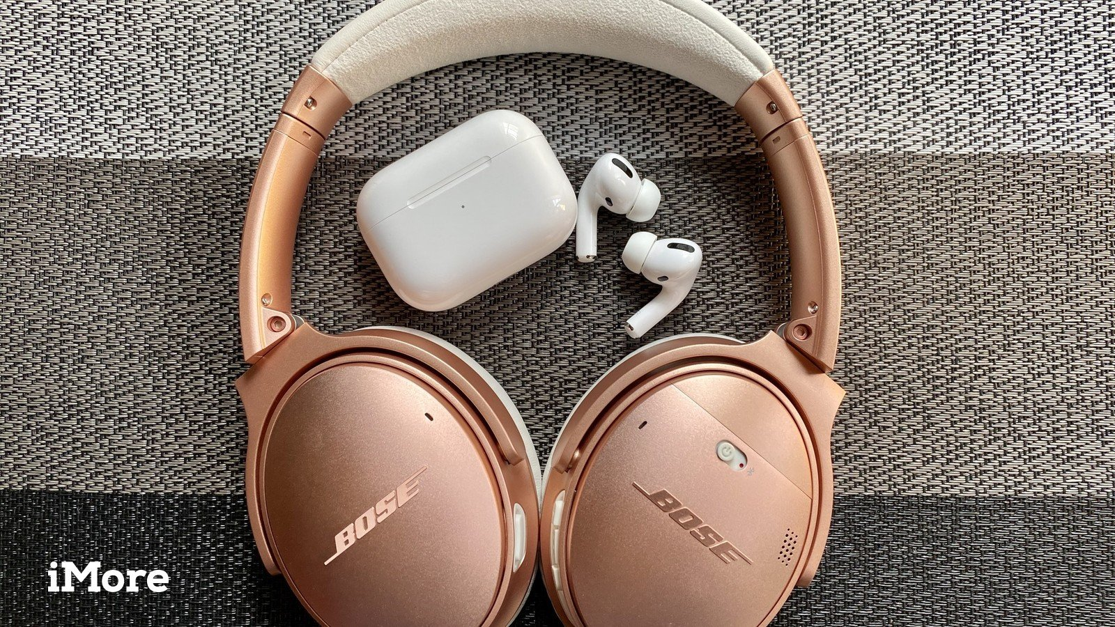 Rose Gold Bose QuietComfort 35 II and AirPods Pro