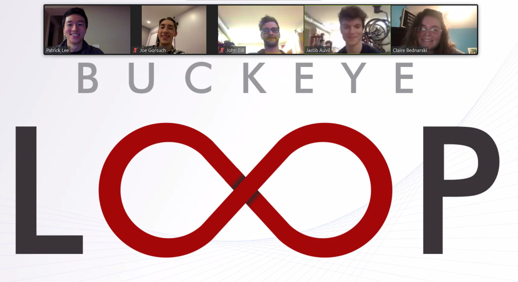 The Five members of Buckey Loop on Zoom above their logo