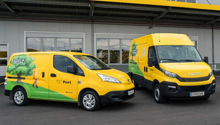 Pictured: Electric delivery vans operated by EV100 member Swiss & Austrian Post