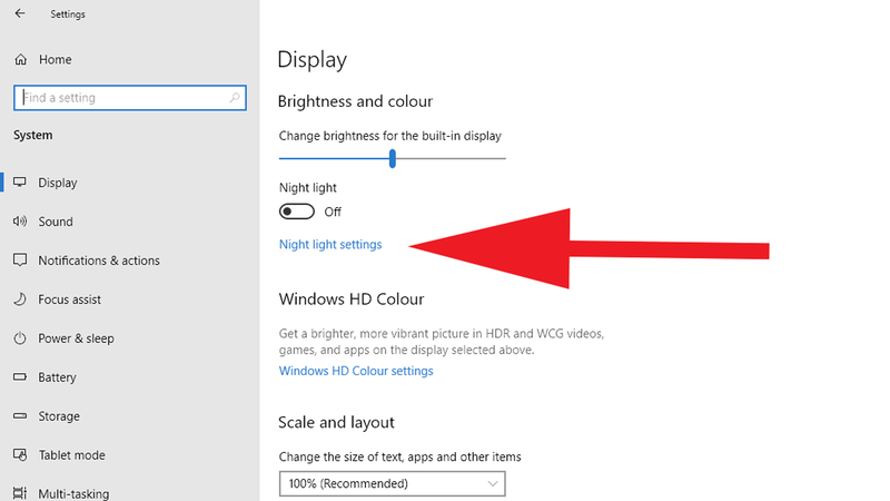 How to use blue light filter on your device: Windows settings