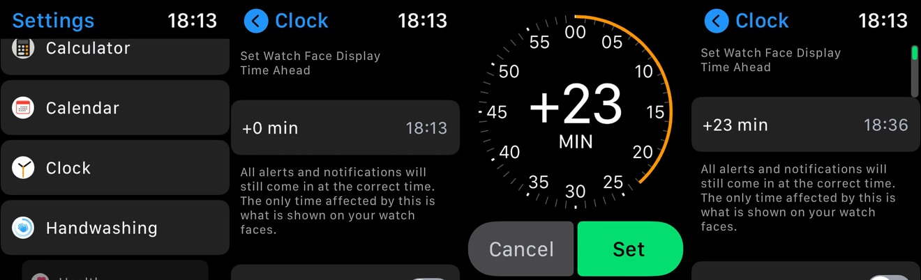 Setting the time of an Apple Watch fast can be accomplished in Settings.