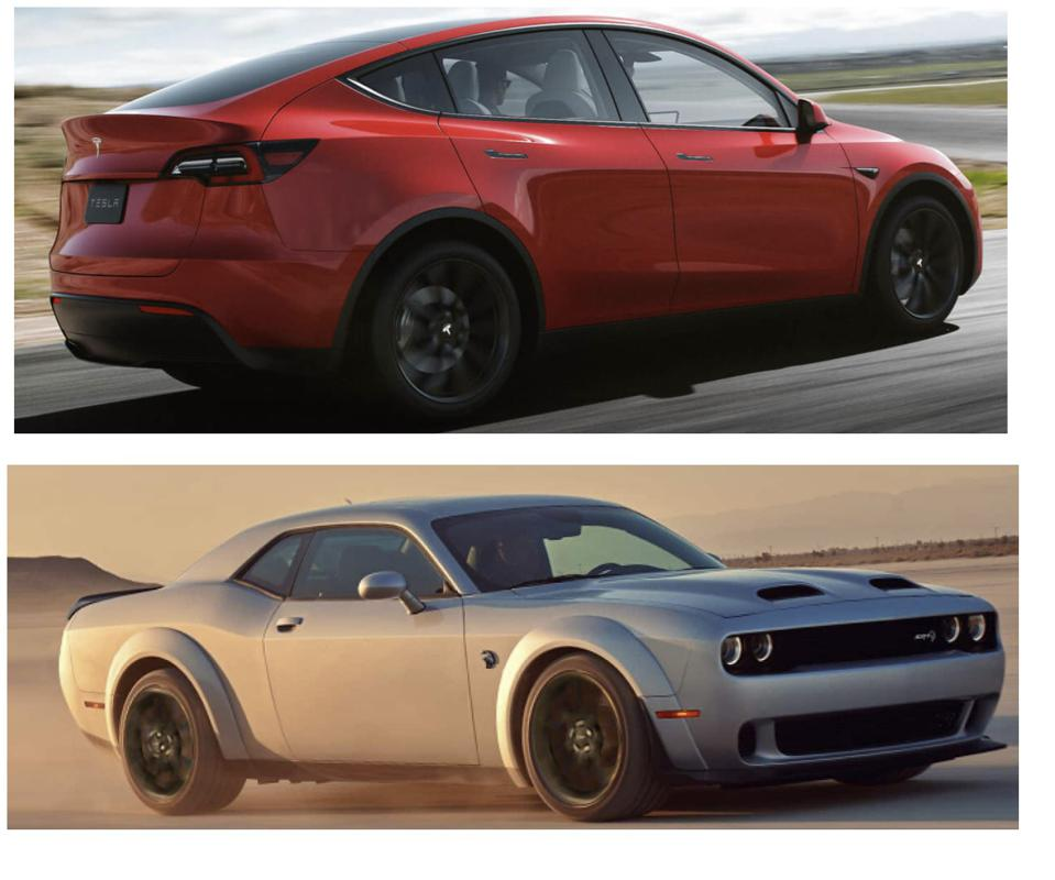 Tesla Model Y and Dodge Challenger Hellcat are two entirely difference approaches to a fast car.